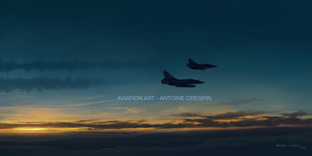 Mirage 2000-5 patrol at dawn