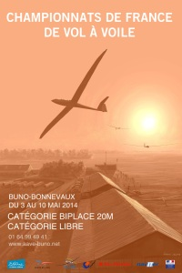 Poster for the French Gliding Championships 2014 at Buno-Bonnevaux airfield