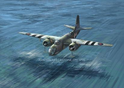 "Boston MkIII from FAFL Group ""Lorraine"" crossing the channel, June 1944"