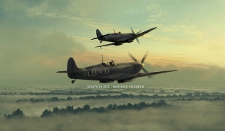Jacques Remlinger and Pierre Clostermann taking off on a foggy morning. Spitfire MkIX, England, 1944