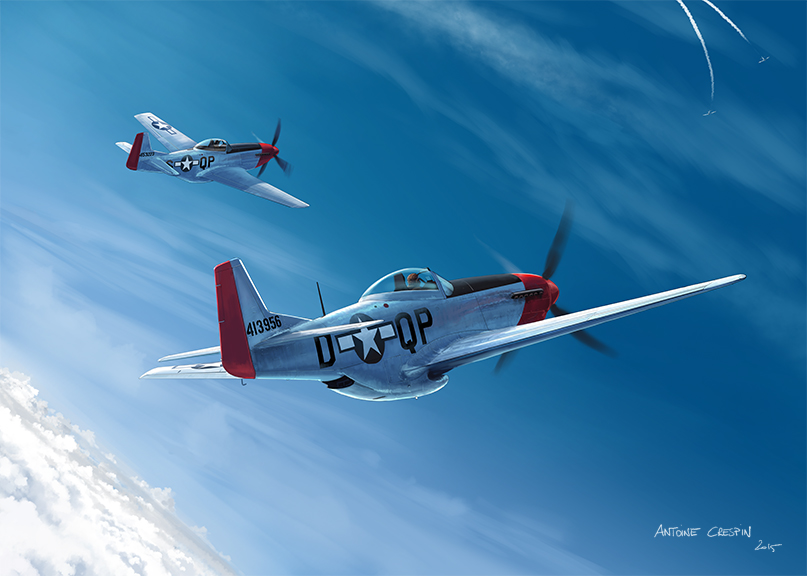 Pair of Mustangs facing diving Fw190