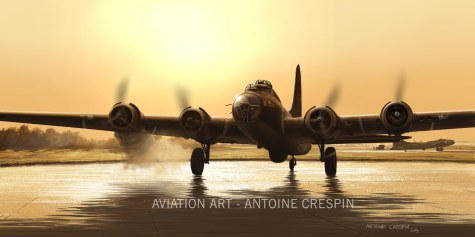 """The B17 """"Alice from Dallas"""" starting its engines."""