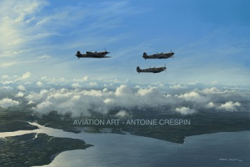 602 Squadron Spitfires climbing above the Solent, August 17th 1940.