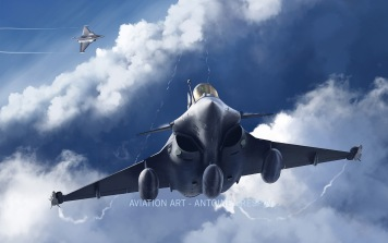 Two Rafale from the Normandie Niemen Fighter Squadron practising dogfight.
