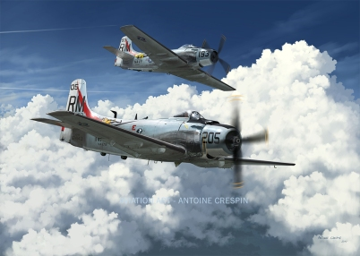 """Two AD4-N Skyraider from Va-176 """"Thunderbolts"""" over Viet Nam, 1965"""