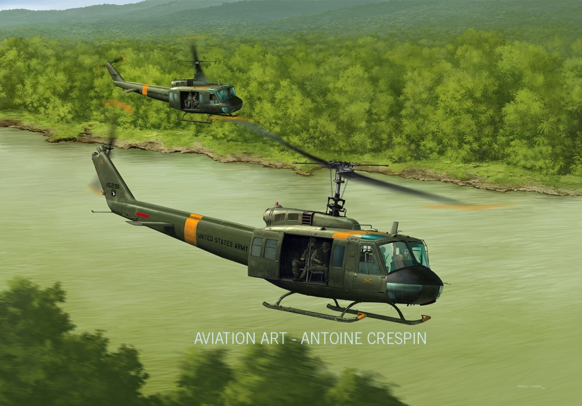 Huey formation flying over a Vietnamese river.  (Unique Exemplary)