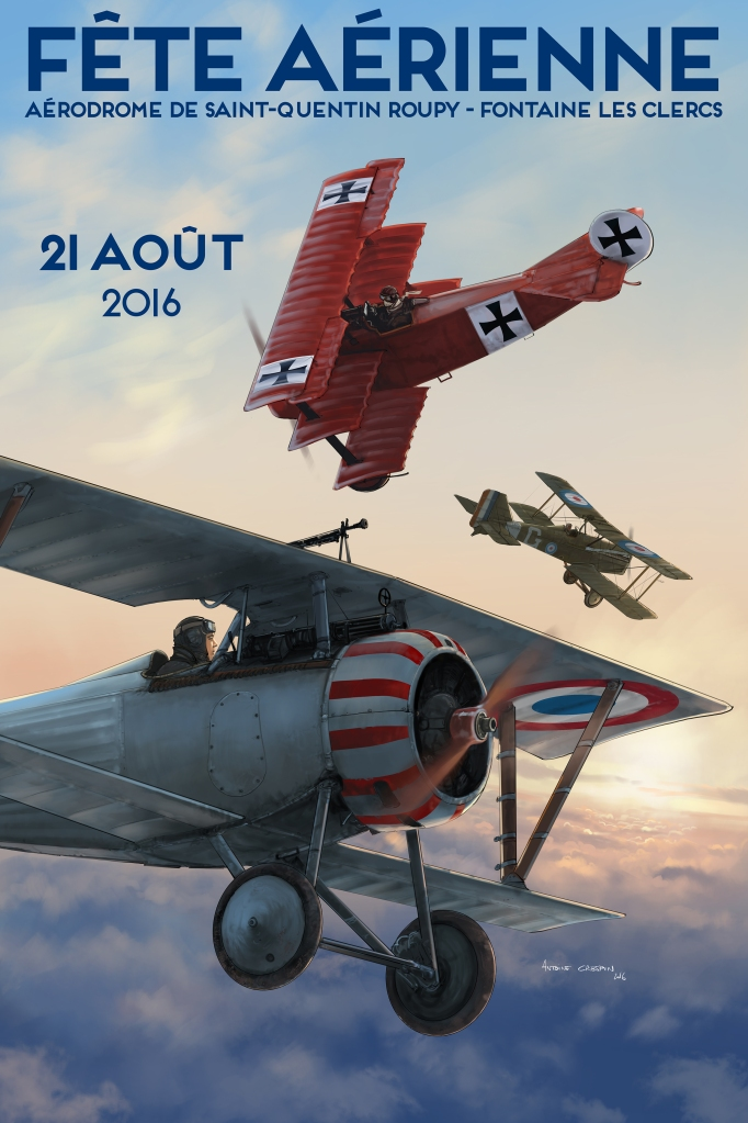 French Nieuport 27, German Fokker DR1 and British SE-5 engaged in an early morning dogfight.