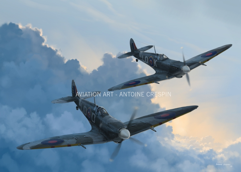 "Spitfires MkIX from 602 Squadron ""City of Glasgow"", flown by Pierre Clostermann & Jacques Remlinger"