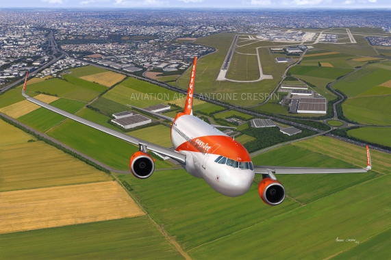 EasyJet A320 on departure from Paris Orly airport.